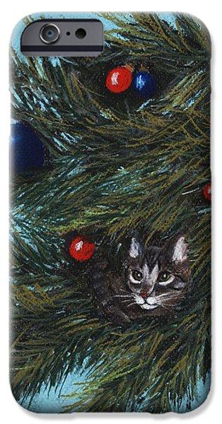 Christmas Greeting Pastels iPhone Cases - Where is Santa iPhone Case by Anastasiya Malakhova