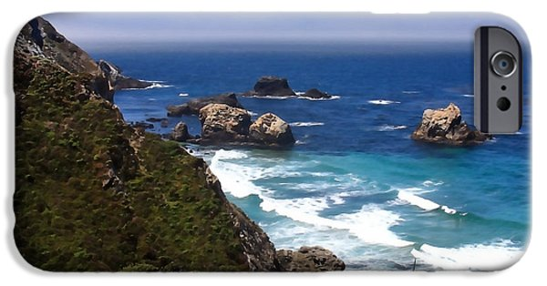 Big Sur Ca iPhone Cases - Where Mountains Meet the Shore iPhone Case by Art Block Collections