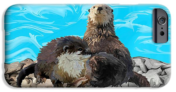 Otter Digital Art iPhone Cases - Where the River Meets the Sea Otters iPhone Case by Sherin  Hylan
