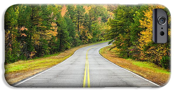 Arkansas iPhone Cases - Where this Road will Take You - Talimena Scenic Highway - Oklahoma - Arkansas iPhone Case by Silvio Ligutti