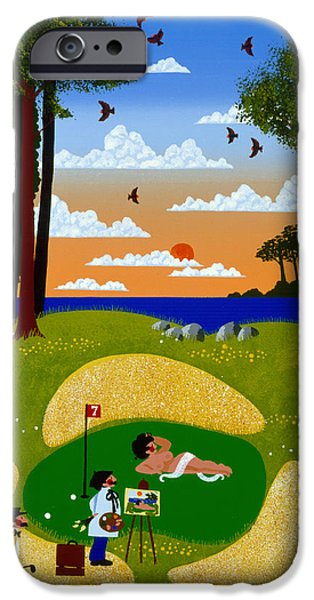 Golf Paintings iPhone Cases - Where Your Muse Takes You iPhone Case by Merry  Kohn Buvia