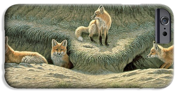 Fox Paintings iPhone Cases - Wheres Mom-Fox Pups iPhone Case by Paul Krapf