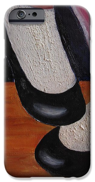 Dance Floor Paintings iPhone Cases - Wheres the Bathroom? iPhone Case by MaryEllen Frazee