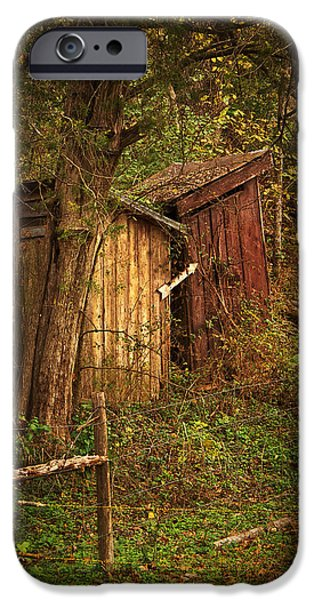 Grist Mill iPhone Cases - Which Way to the Outhouse? iPhone Case by Priscilla Burgers