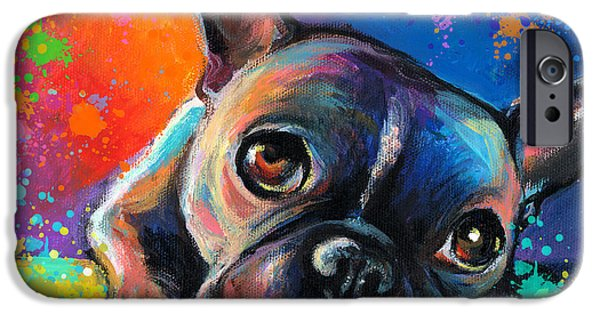 Contemporary Art Drawings iPhone Cases - Whimsical Colorful French Bulldog  iPhone Case by Svetlana Novikova