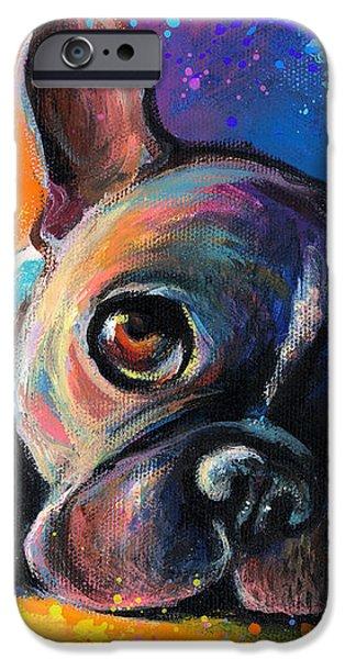 Whimsical Colorful French Bulldog  iPhone Case by Svetlana Novikova