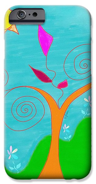 Gina Manley iPhone Cases - Whimsical Garden - Digital Drawing iPhone Case by Gina Lee Manley