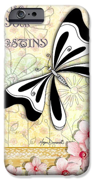 Destiny Paintings iPhone Cases - Whimsical Inspirational Butterfly Floral Art Inspiring Quote Choose your Destinyby Megan Duncanson iPhone Case by Megan Duncanson