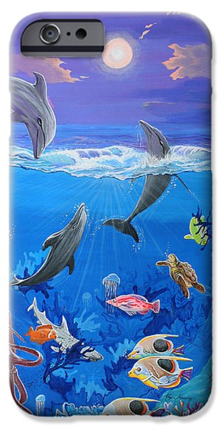 Shark Paintings iPhone Cases - Whimsical Original Painting UNDERSEA WORLD Tropical Sea Life Art by MADART iPhone Case by Megan Duncanson