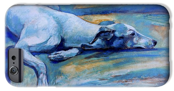Lazy Dog iPhone Cases - Whippet-Effects of gravity-6 iPhone Case by Derrick Higgins
