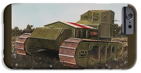 Wwi Paintings iPhone Cases - The Whippet aka Tritton Chaser after its designer Sir William Tritton fast tank of WWI  iPhone Case by Rick Bennett
