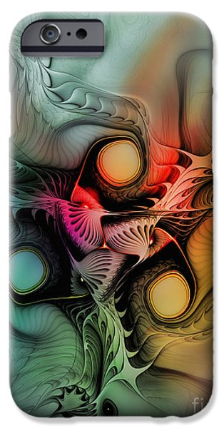 Lyrical iPhone Cases - Whirlpool-Abstract Art iPhone Case by Karin Kuhlmann