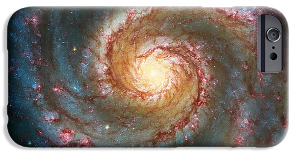 Outer Space iPhone Cases - Whirlpool Galaxy  iPhone Case by The  Vault - Jennifer Rondinelli Reilly