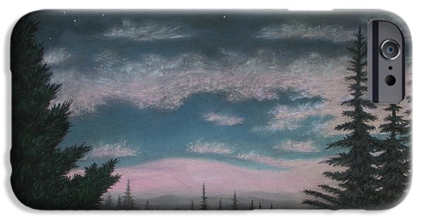 Fog Mist Pastels iPhone Cases - Whispering Pines 02 iPhone Case by Michael Heikkinen