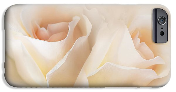 Peach Rose iPhone Cases - Whispers of Peaches and Cream Roses iPhone Case by Jennie Marie Schell