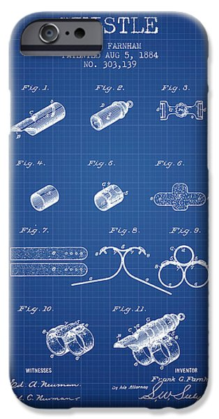 Police Art iPhone Cases - Whistle Patent from 1884 - Blueprint iPhone Case by Aged Pixel