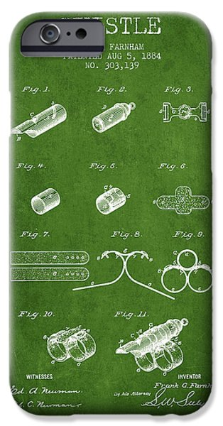 Police Art iPhone Cases - Whistle Patent from 1884 - Green iPhone Case by Aged Pixel