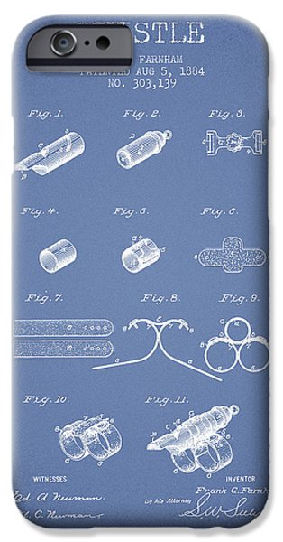 Police Art iPhone Cases - Whistle Patent from 1884 - Light Blue iPhone Case by Aged Pixel