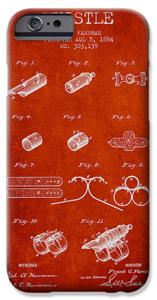 Police Art iPhone Cases - Whistle Patent from 1884 - Red iPhone Case by Aged Pixel
