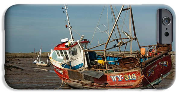 Trawler iPhone Cases - Whitby Crest at Brancaster Staithe iPhone Case by John Edwards
