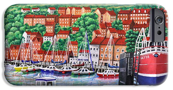 Boat iPhone Cases - Whitby Harbour iPhone Case by Ronald Haber