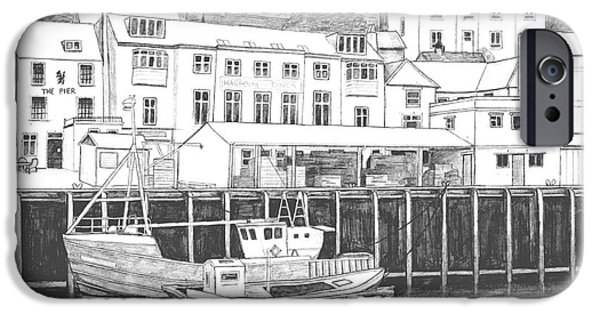 North Sea Drawings iPhone Cases - Whitby Harbour iPhone Case by Shirley Miller