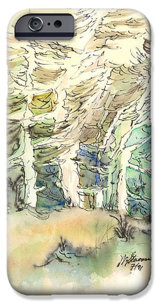 Windblown Paintings iPhone Cases - White and Green Forest iPhone Case by Walt Stevenson
