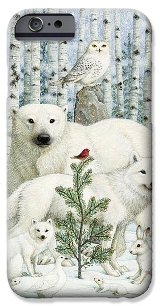 Animal Cards iPhone Cases - White Animals Red Bird iPhone Case by Lynn Bywaters