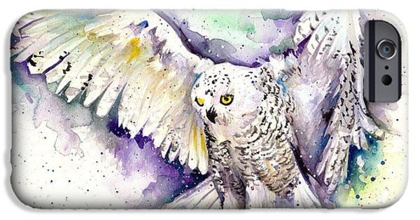 Snowy Night Paintings iPhone Cases - White Arctic Polar Owl - Wizard Dynamic White Owl iPhone Case by Tiberiu Soos