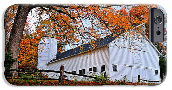 Silos iPhone Cases - White Barn and Silo iPhone Case by Thomas Schoeller