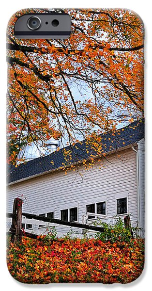 White Barn and Silo iPhone Case by Thomas Schoeller