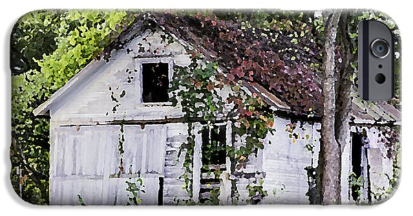 Old Barns iPhone Cases - White Barn in Autumn iPhone Case by Betty Denise