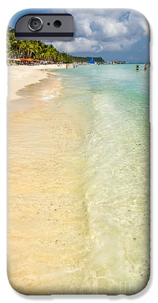 Coastline Digital Art iPhone Cases - White Beach Boracay iPhone Case by Adrian Evans