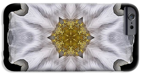 David J Bookbinder iPhone Cases - White Beach Rose I Flower Mandala iPhone Case by David J Bookbinder