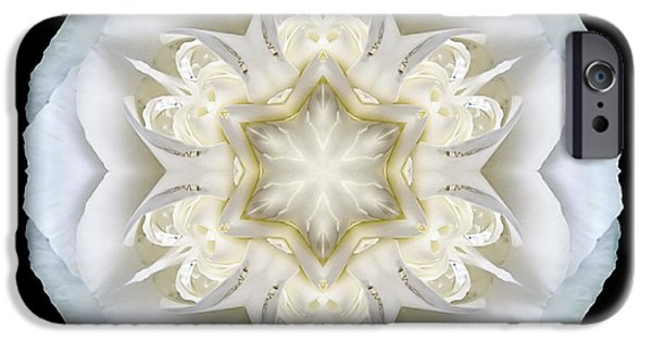David J Bookbinder iPhone Cases - White Begonia II Flower Mandala iPhone Case by David J Bookbinder