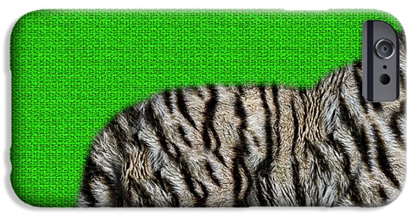 The Tiger iPhone Cases - White Bengal Tiger Furry Bottom on Green iPhone Case by Serge Averbukh