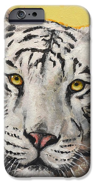 Bengal Tiger iPhone Cases - White Bengal Tiger iPhone Case by Mary Medrano