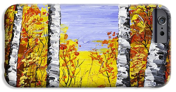 Woodlands Scene Paintings iPhone Cases - White Birch Tree Abstract Painting In Fall iPhone Case by Keith Webber Jr