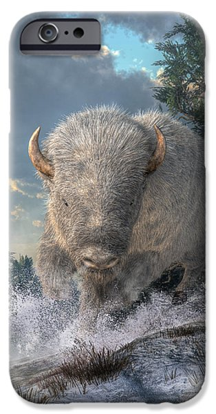 Bison Art iPhone Cases - White Bison iPhone Case by Daniel Eskridge