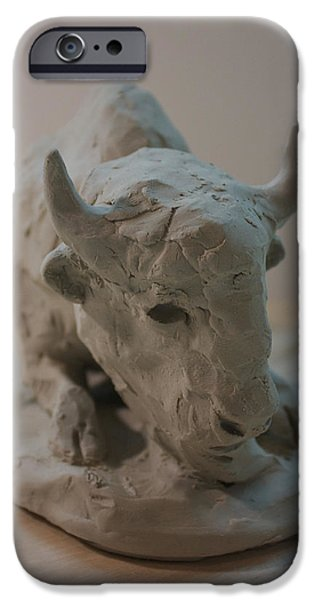 Native Sculptures iPhone Cases - White Buffalo iPhone Case by Derrick Higgins