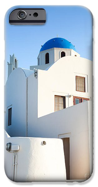 Greek Icon iPhone Cases - White buildings and blue church in Oia Santorini Greece iPhone Case by Matteo Colombo