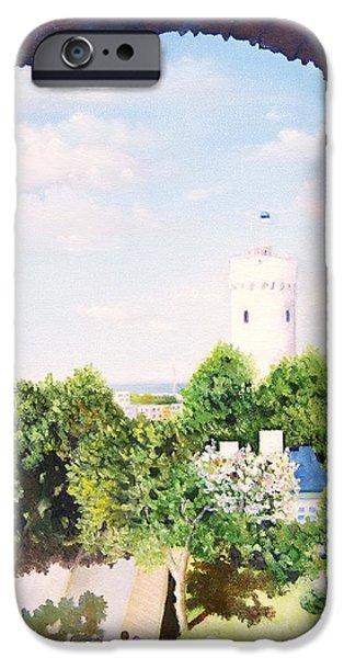 Asphalt Paintings iPhone Cases - White castle in Tallinn Estonia iPhone Case by Misuk  Jenkins