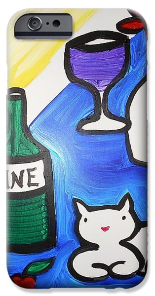 Table Wine iPhone Cases - White Cat And Wine iPhone Case by Margaret Hennessy