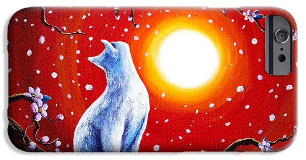 Blossom iPhone Cases - White Cat in Bright Sunset iPhone Case by Laura Iverson
