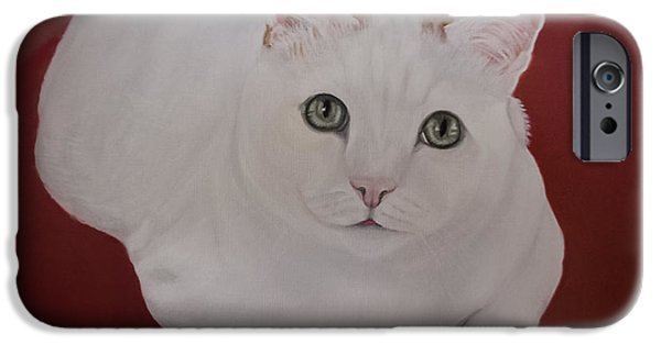 House Pet Paintings iPhone Cases - White cat iPhone Case by Zina Stromberg
