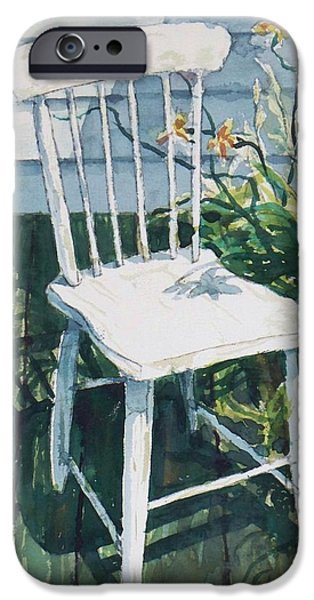 Empty Chairs Paintings iPhone Cases - White chair and Day Lilies iPhone Case by Joy Nichols