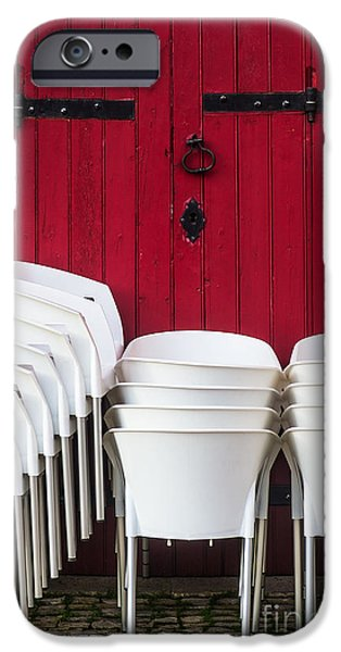 Aluminum iPhone Cases - White Chairs iPhone Case by Carlos Caetano