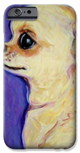 Chiwawa iPhone Cases - White Chihuahua - Sweet Pea iPhone Case by Rebecca Korpita