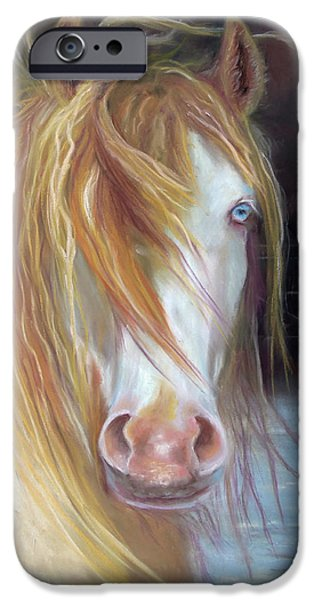 Chatham Pastels iPhone Cases - White Chocolate Stallion iPhone Case by Karen Kennedy Chatham
