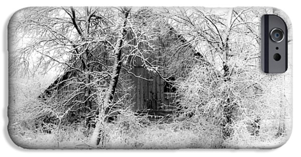 Barn Print Photographs iPhone Cases - White Christmas 1 iPhone Case by Julie Hamilton
